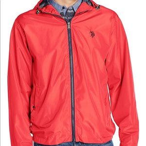 US Polo Assn. solid windbreaker jacket with hood